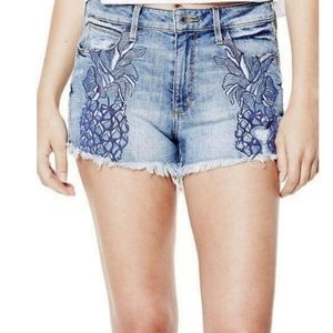 GUESS shorts w/embroidered pineapple